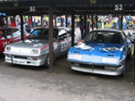 Stephen Hemingway's HS and Tony Davies' Transpeed Firenza in the paddock at Shelsley Walsh Hillclimb