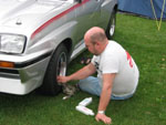 Terry Cobbold polishing his HSR before a show